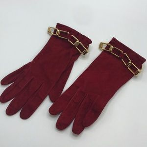 Saks Fifth Avenue red leather gloves lined in silk